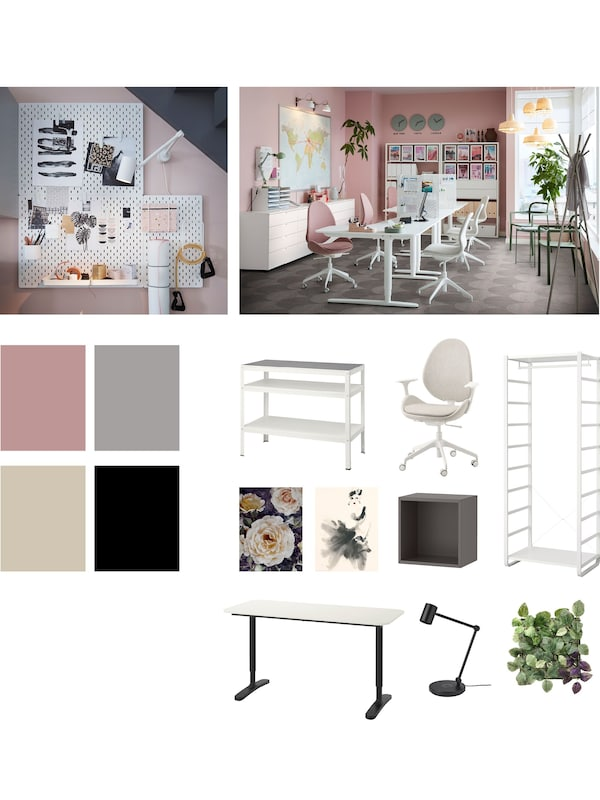 A collage of grouped, small images of pink-and-white interiors, pieces of furniture, and colour samples.