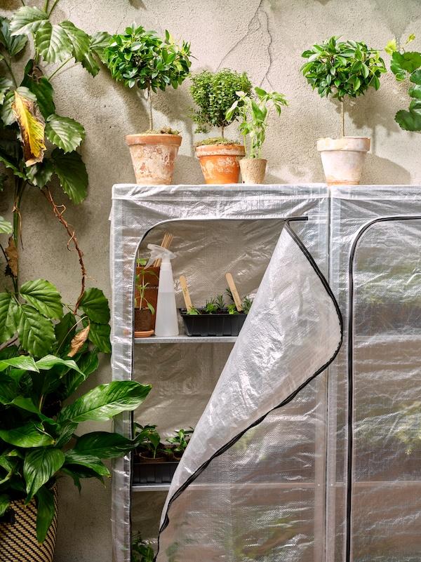 To udendørs reoler med overtræk, så man kan stille ting på hylderne beskyttet for vind og vejr. Der er mange grønne planter i potter.