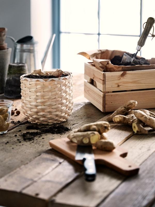 Ett träbord för plantering med krukor och spadar i naturmaterial.