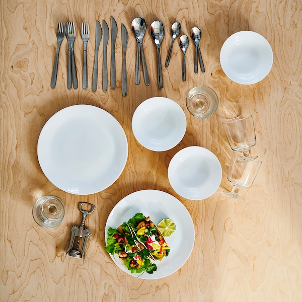IKEA 365+ and white OFTAST dinnerware on a table.