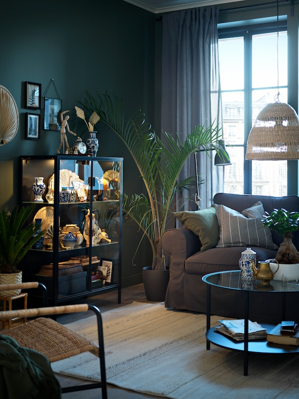 A living room with a grey EKTORP two-seat sofa, a VITTSJÖ coffee table and an anthracite RUDSTA glass-door cabinet.