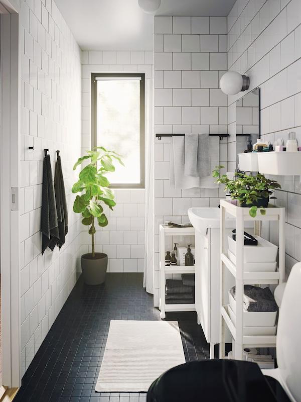 Solbelyst badeværelse med en hvid VESKEN reol til opbevaring af mindre genstande, en potteplante ved siden af en hvid håndvask og et rullebord.