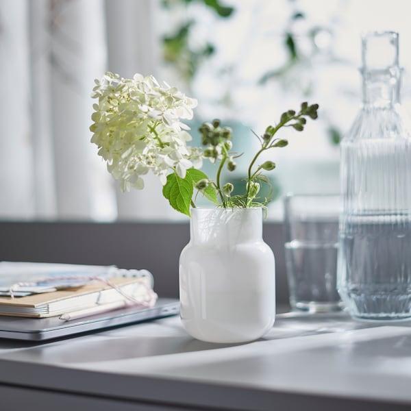 Hvit FÖRENLIG vase med en hvit blomst ved siden av en SÄLLSKAPLIG karaffel.