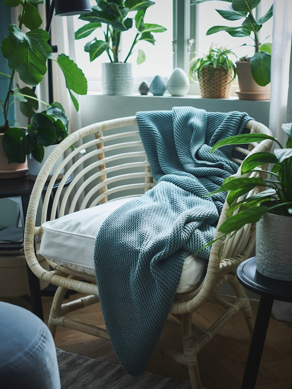 Un sillón BUSKBO con una manta INGABRITTA en azul claro y rodeado de macetas delante de una ventana luminosa.