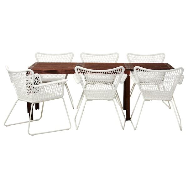 ÄPPLARÖ / HÖGSTEN Ulkokalustesetti (pöytä/6 nojatu), ruskeaksi petsattu/valkoinen