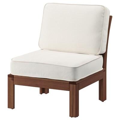 ÄPPLARÖ Lepotuoli ulkokäyttöön, ruskeaksi petsattu/Järpön/Duvholmen valkoinen, 63x80x86 cm