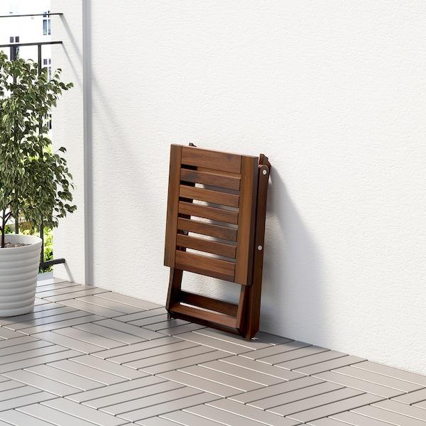 ÄPPLARÖ rahi/jakkara, ulkokäyttöön kokoontaitettava ruskeaksi petsattu 110 kg 40 cm 38 cm 42 cm