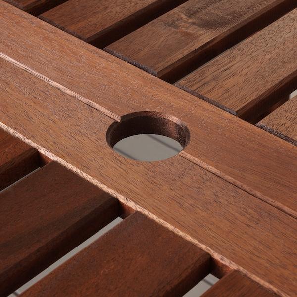 ÄPPLARÖ Ulkokalustesetti (pöytä/6 sääd tu), ruskeaksi petsattu/Kuddarna harmaa