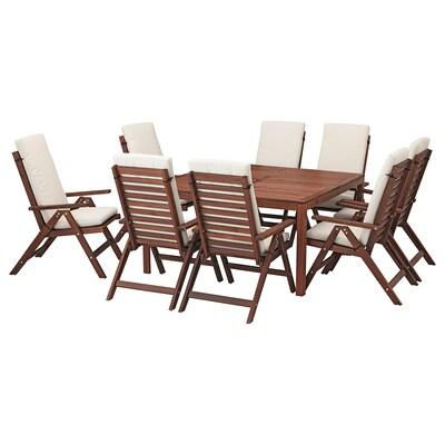ÄPPLARÖ Ulkokalustesetti (pöytä/8 nojatu), ruskeaksi petsattu/Frösön/Duvholmen beige