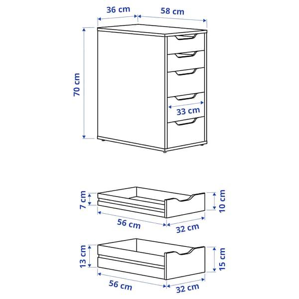ALEX Laatikosto, harmaanturkoosi, 36x70 cm