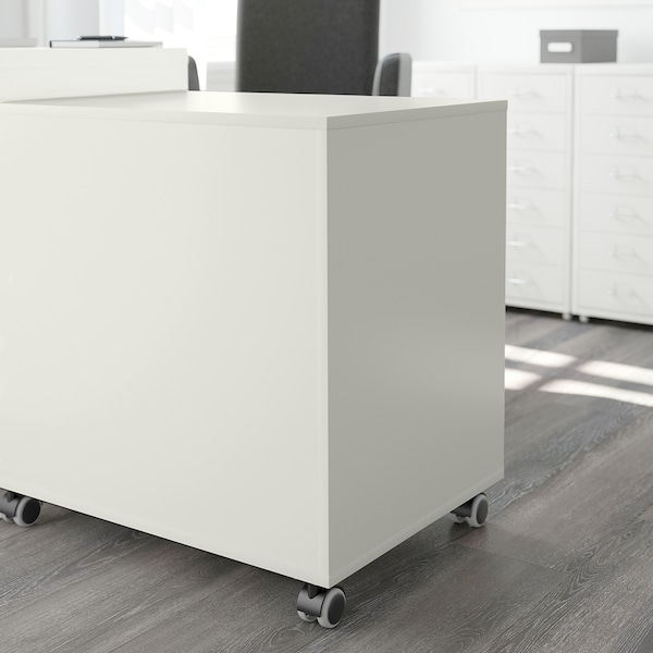 ALEX Laatikosto + pyörät, valkoinen, 67x66 cm