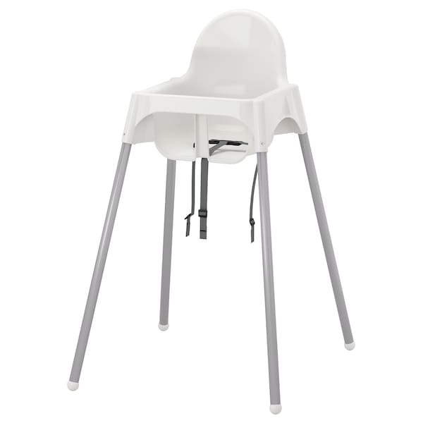 ANTILOP Syöttötuoli + istuinvyö, valkoinen/hopea