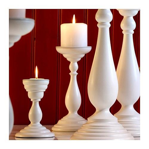 ÅRYD Kynttilänjalka kynttil/pöytäkynttil valkoinen Korkeus: 24 cm
