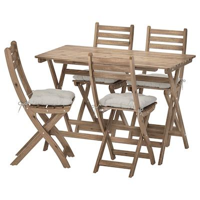 ASKHOLMEN ulkokalustesetti (pöytä/4taittotuo) harmaanruskeaksi petsattu/Kuddarna harmaa
