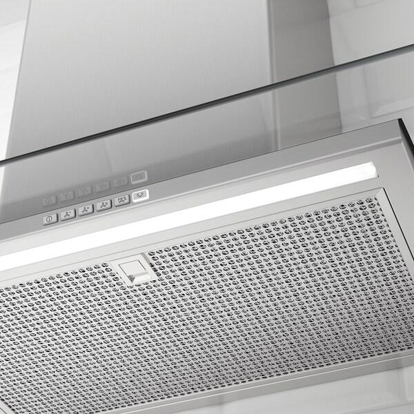 BALANSERAD Seinään kiinnitettävä liesituuletin, ruostumaton teräs/lasi