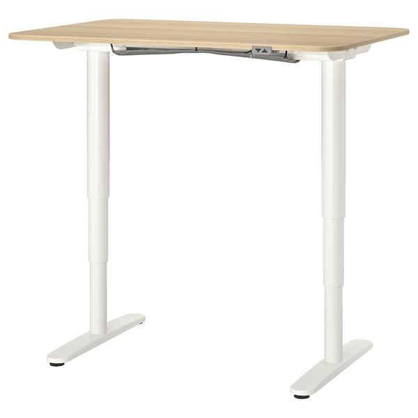 BEKANT työpöytä, säädettävä vaaleaksi petsattu tammiviilu/valkoinen 120 cm 80 cm 65 cm 125 cm 70 kg