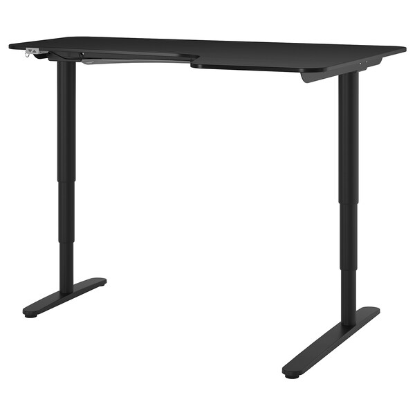 BEKANT Kulmapöytä oikea, sähkösäädettävä, mustaksi petsattu saarniviilu musta, 160x110 cm