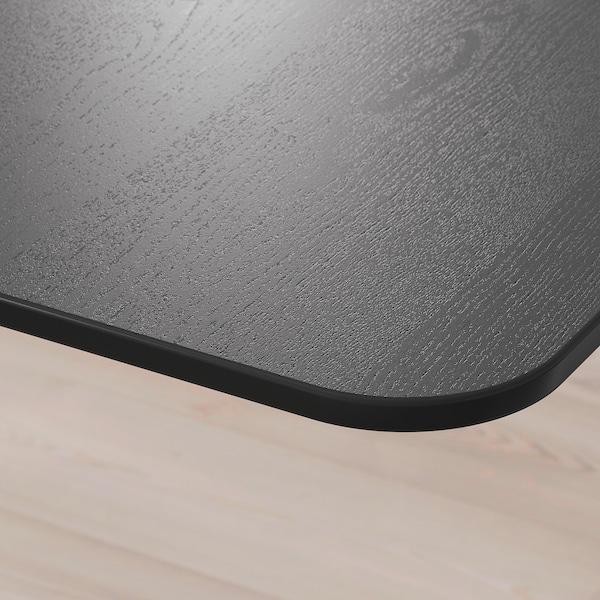 BEKANT Kulmapöytä oikea, sähkösäädettävä, mustaksi petsattu saarniviilu valkoinen, 160x110 cm