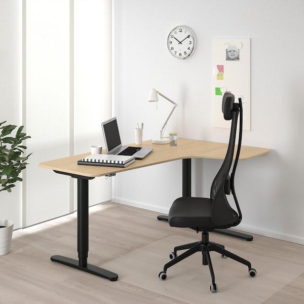 BEKANT Kulmapöytä oikea, sähkösäädettävä, vaaleaksi petsattu tammiviilu musta, 160x110 cm