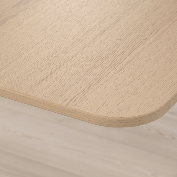 BEKANT Kulmapöytä oikea, sähkösäädettävä, vaaleaksi petsattu tammiviilu valkoinen, 160x110 cm