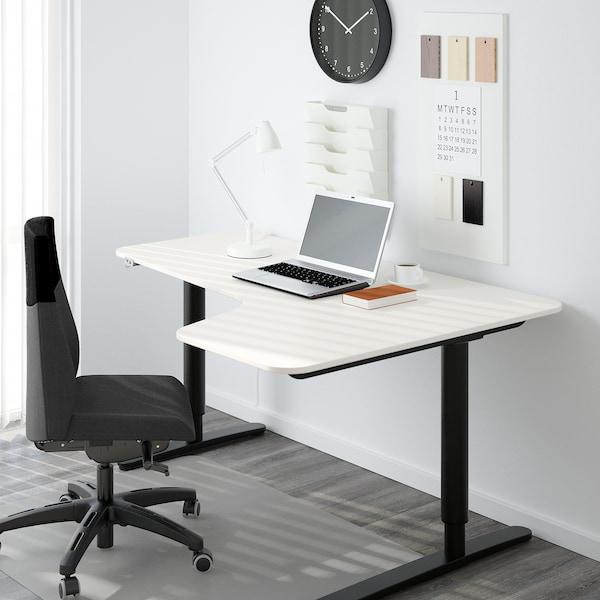 BEKANT Kulmapöytä oikea, sähkösäädettävä, valkoinen/musta, 160x110 cm
