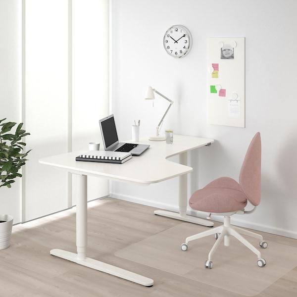 BEKANT Kulmapöytä vasen, sähkösäädettävä, valkoinen, 160x110 cm