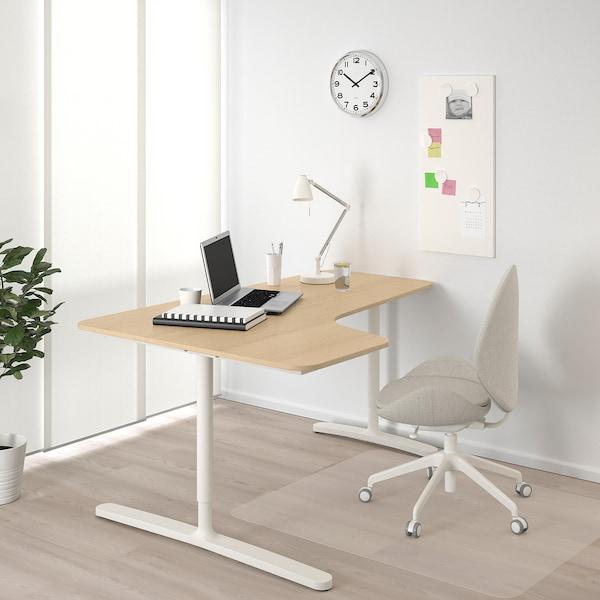 BEKANT Kulmatyöpöytä, vasen, vaaleaksi petsattu tammiviilu/valkoinen, 160x110 cm
