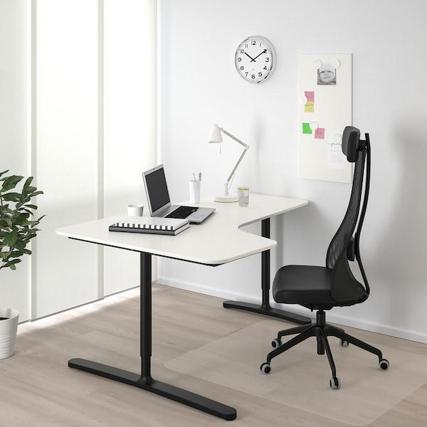 BEKANT Kulmatyöpöytä, vasen, valkoinen/musta, 160x110 cm