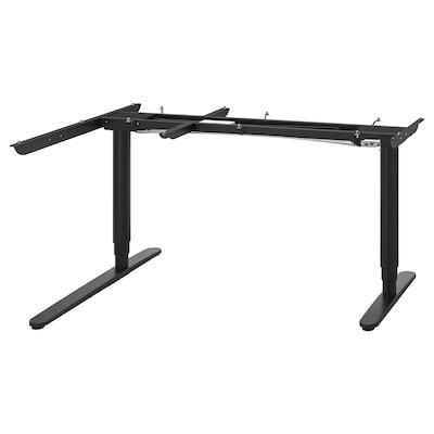 BEKANT Sähkösääd jalusta kulmapöytälevyyn, musta, 160x110 cm