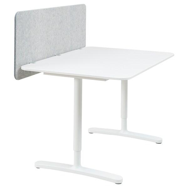 BEKANT Työpöytä ja väliseinä, valkoinen/harmaa, 120x80 48 cm