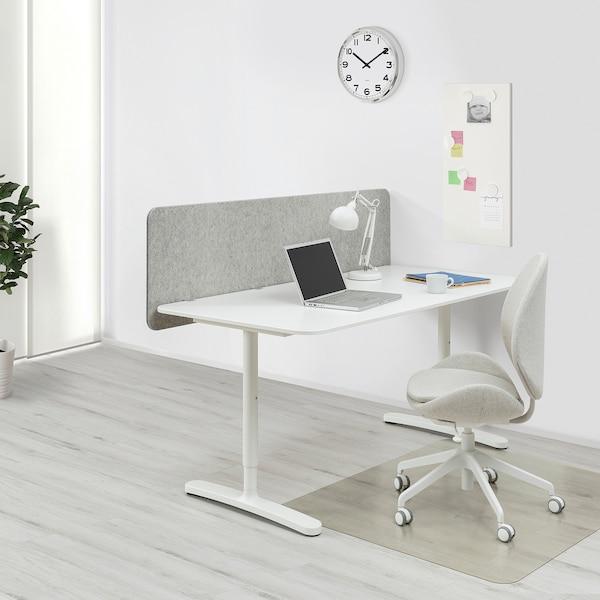 BEKANT Työpöytä ja väliseinä, valkoinen/harmaa, 160x80 150 cm