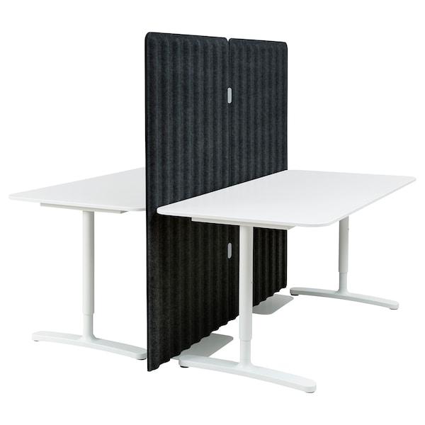 BEKANT Työpöytä ja väliseinä, valkoinen/tummanharmaa, 160x160 150 cm