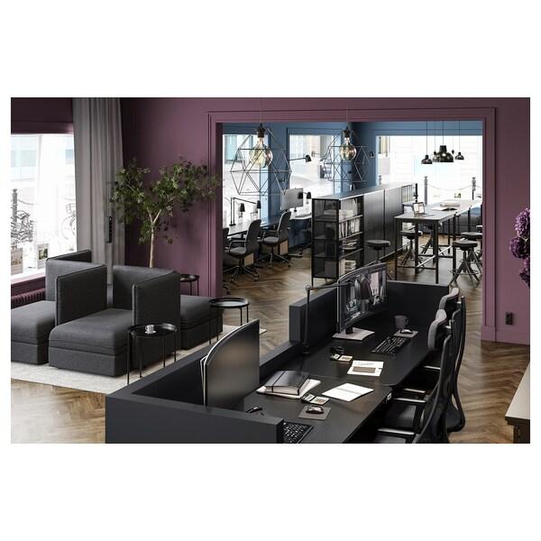 BEKANT Työpöytä, säädettävä, mustaksi petsattu saarniviilu/musta, 120x80 cm