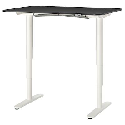 BEKANT Työpöytä, säädettävä, mustaksi petsattu saarniviilu/valkoinen, 120x80 cm