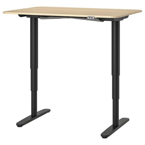 BEKANT Työpöytä, säädettävä, vaaleaksi petsattu tammiviilu/musta, 120x80 cm