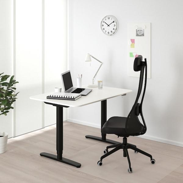 BEKANT Työpöytä, säädettävä, valkoinen/musta, 120x80 cm