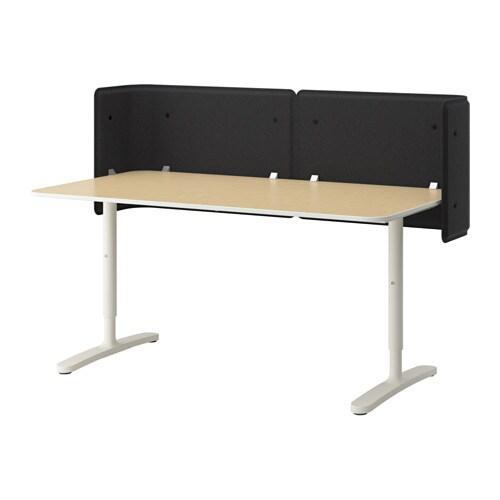 BEKANT Vastaanottotiski  koivuviilu valkoinen  IKEA