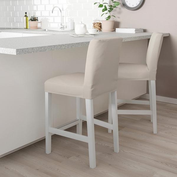 BERGMUND Baarituoli, valkoinen/Hallarp beige, 62 cm