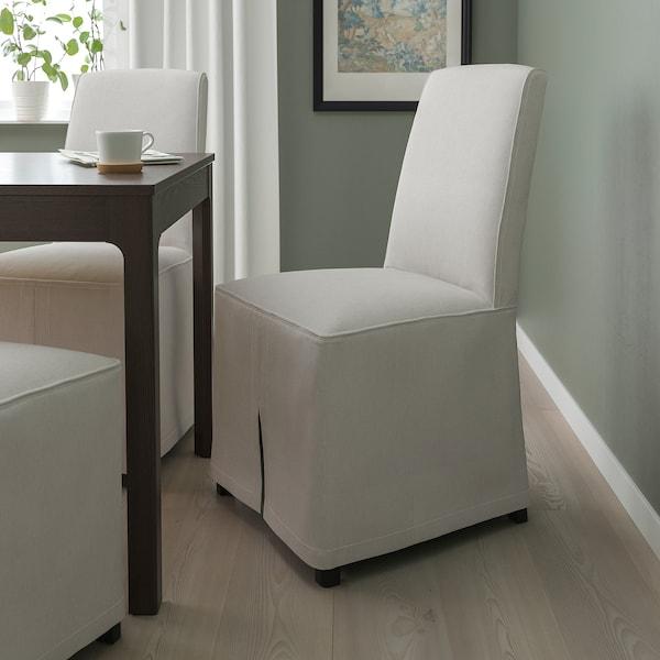 BERGMUND Tuoli+pitkä päällinen, musta/Kolboda beige/tummanharmaa