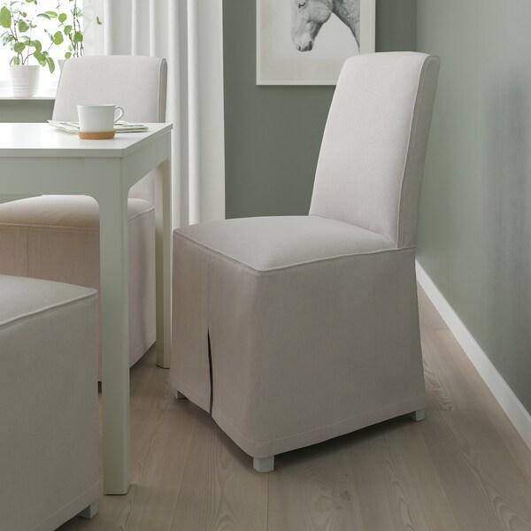 BERGMUND Tuoli+pitkä päällinen, valkoinen/Kolboda beige/tummanharmaa