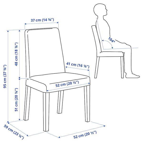 BERGMUND Tuoli, valkoinen/Kvillsfors tummansininen/sininen