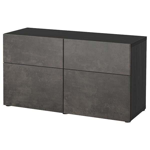 BESTÅ Säilytyskokon+ovet/laatikot, mustanruskea Kallviken/tummanharmaa betonikuvio, 120x42x65 cm