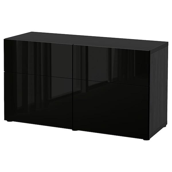 BESTÅ Säilytyskokon+ovet/laatikot, mustanruskea/Selsviken korkeakiilto musta, 120x42x65 cm