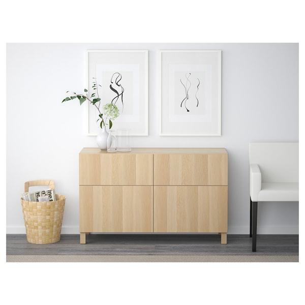 BESTÅ Säilytyskokon+ovet/laatikot, vaaleaksi petsattu tammikuvio/Lappviken vaaleaksi petsattu tammikuvio, 120x42x65 cm