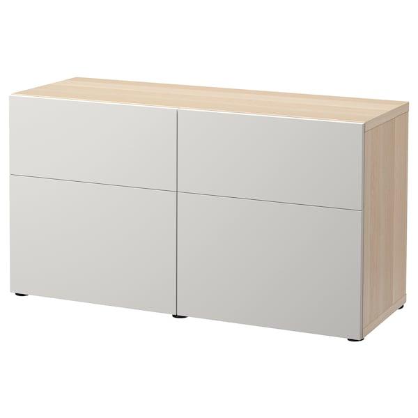 BESTÅ Säilytyskokon+ovet/laatikot, vaaleaksi petsattu tammikuvio/Lappviken vaaleanharmaa, 120x42x65 cm