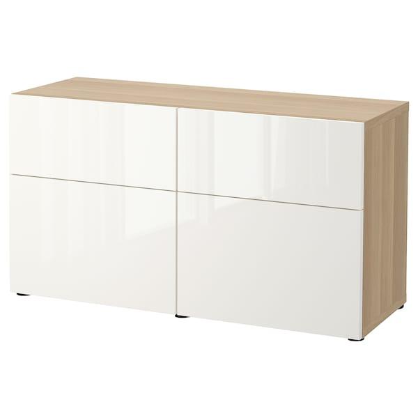 BESTÅ Säilytyskokon+ovet/laatikot, vaaleaksi petsattu tammikuvio/Selsviken korkeakiilto/valkoinen, 120x42x65 cm