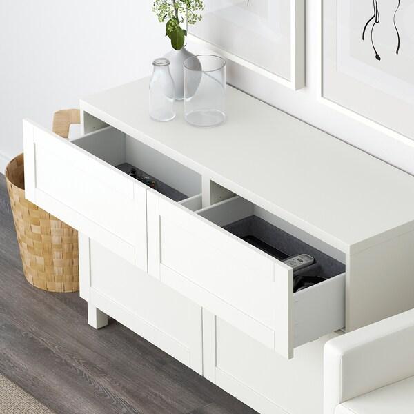 BESTÅ Säilytyskokon+ovet/laatikot, valkoinen/Hanviken valkoinen, 120x42x65 cm