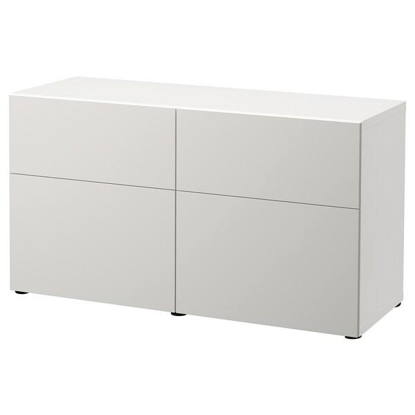 BESTÅ Säilytyskokon+ovet/laatikot, valkoinen/Lappviken vaaleanharmaa, 120x42x65 cm