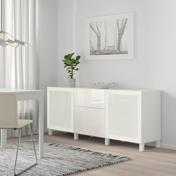 BESTÅ Säilytyskokonaisuus+laatikot, valkoinen/Selsviken/Stubbarp korkeakiilto valkoinen/huurrelasi, 180x42x74 cm