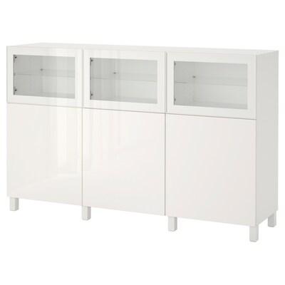 BESTÅ Säilytyskokonaisuus+ovet, valkoinen Selsviken/Glassvik korkeakiilto valkoinen/kirkas lasi, 180x42x112 cm